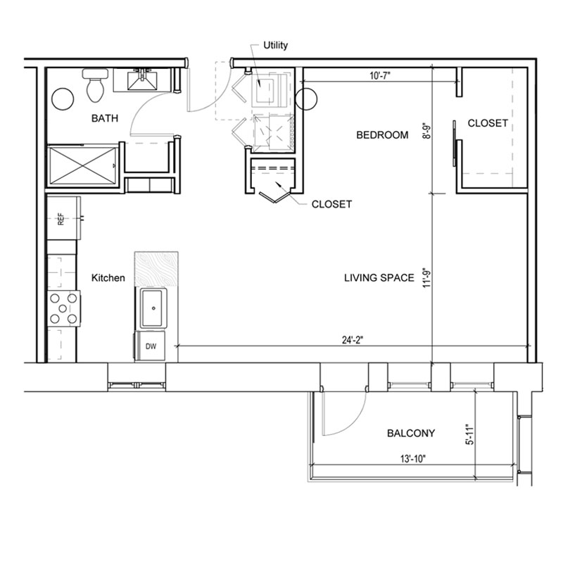 Studio style floor plan with large living space