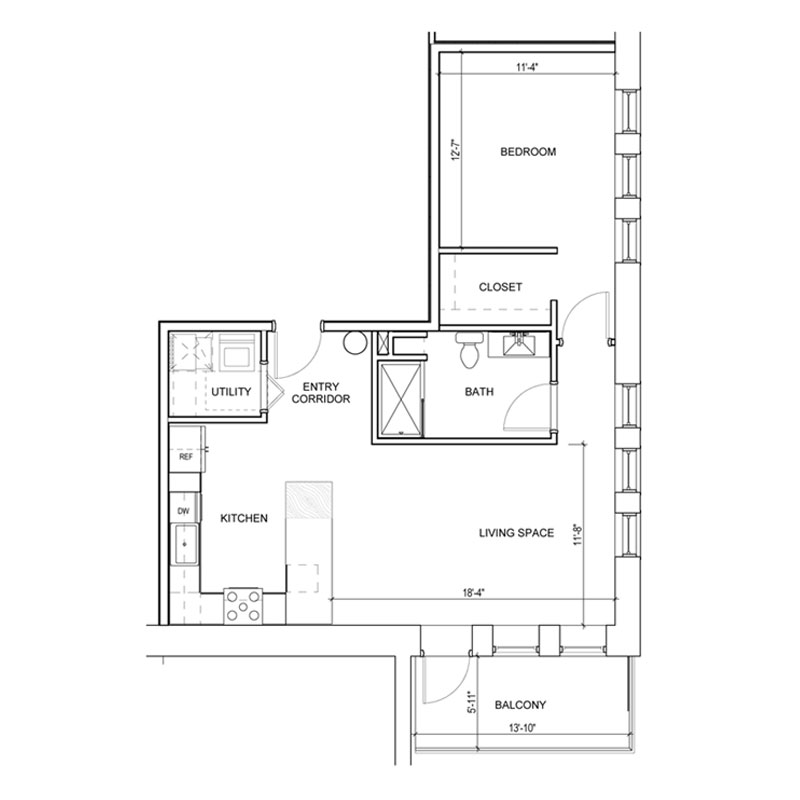 1 Bedroom apartment with balcony floor plan