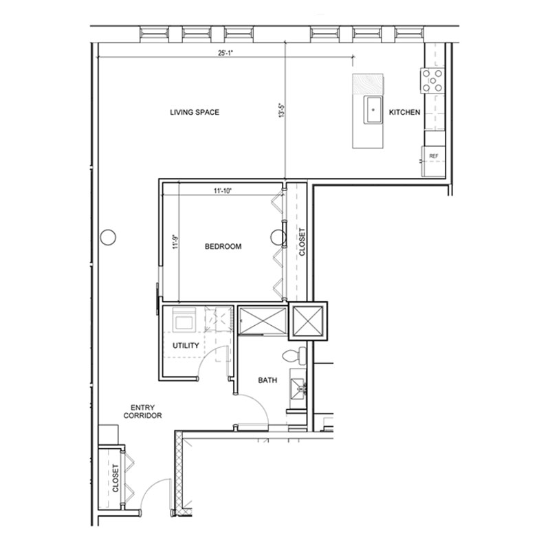 1 Bedroom with entry corridor and closet floor plan