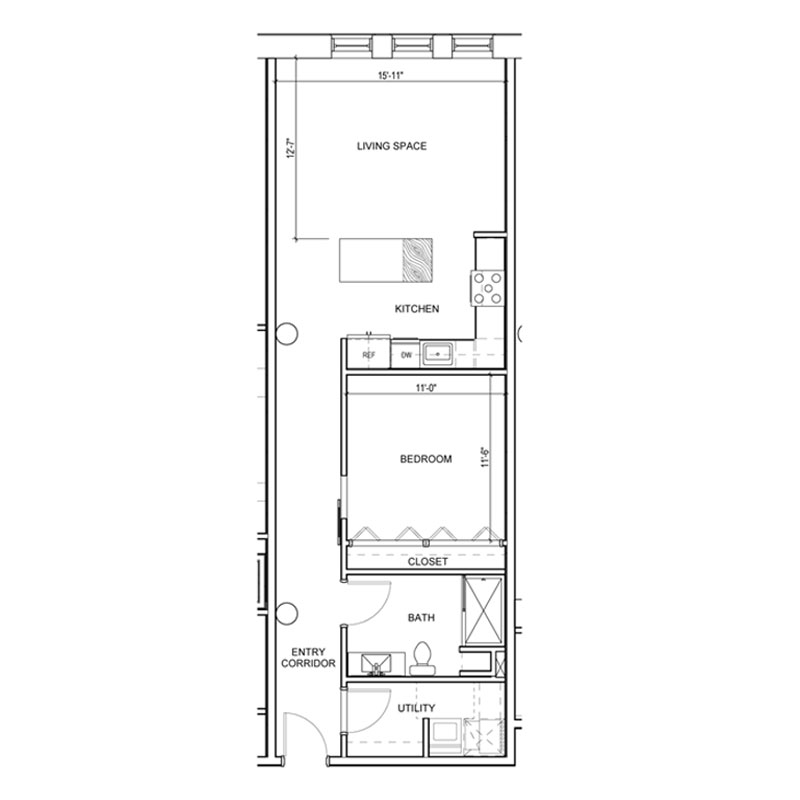 1 Bedroom apartment with hallway to rooms