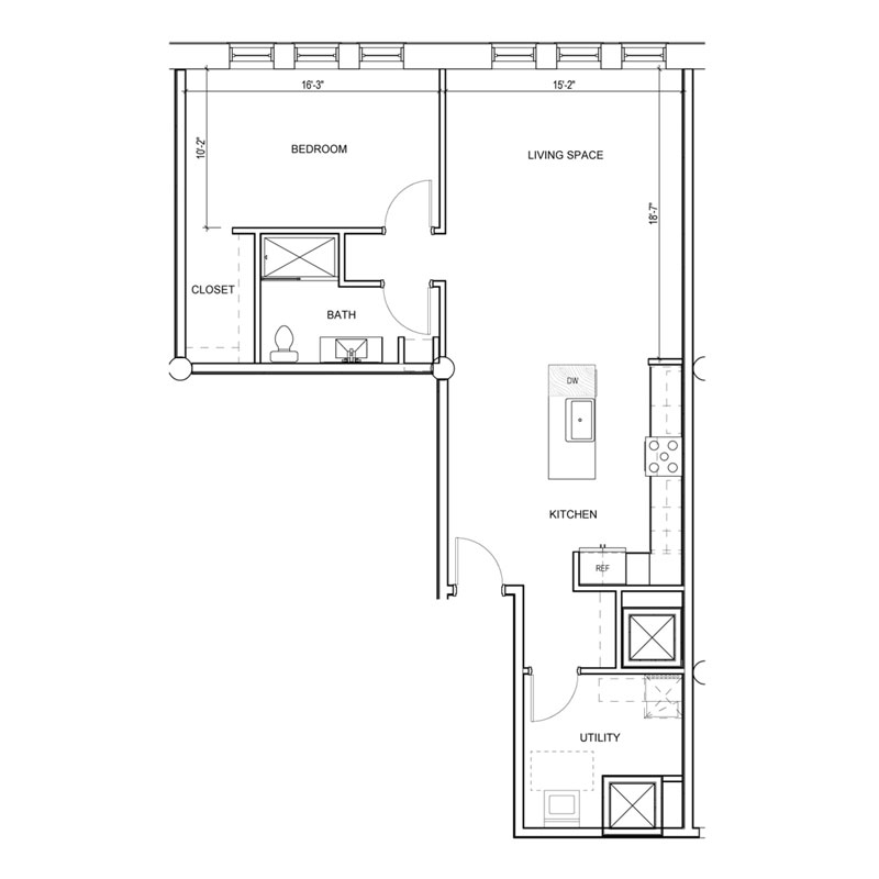 1 Bedroom apartment with utility room floor plan