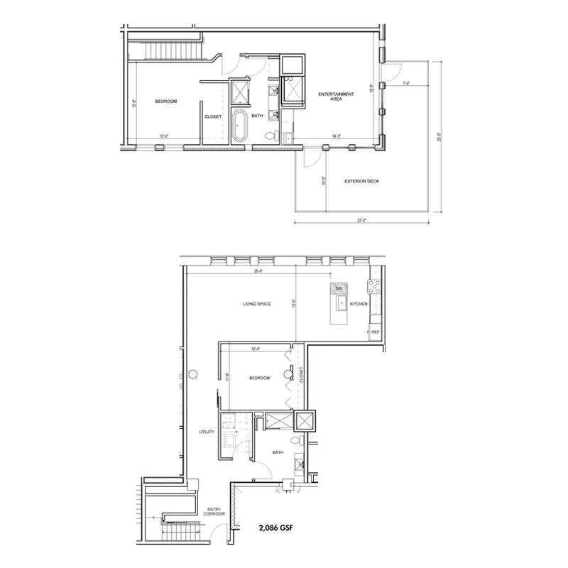2 Bedroom Penthouse 2 Floor with Exterior Deck