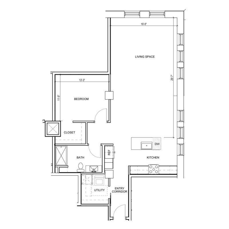 1 Bedroom Floor Plan Walk In Closet with Large Living Space