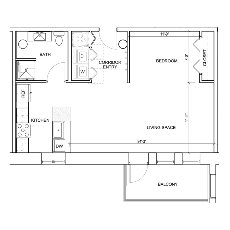 1 Bedroom Floor Plan with Balcony